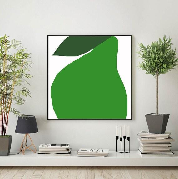 Art minimaliste poire matière toile décor mural moderne par Mirano ...