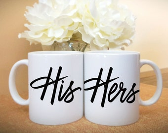 His and Hers Coffee Mugs Set, Couples Mugs, Gift for Couples, Wedding Gift Coffee Mug For Bride and Groom