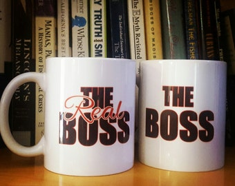 The Real Boss Husband and Wife Coffee Mug Set