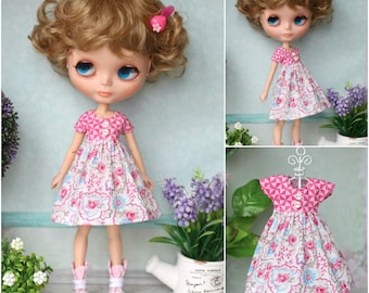 Dress with shoes for Neo Blythe, Licca< Azone M/S, Obitsu 24/25 dolls  1/6 size