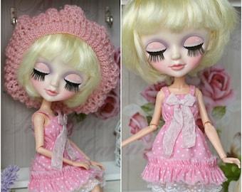 Dress with hat  for Blythe, Azone pure neemo L/M/S, Momoko, Obitsu 24/25, MC2 dolls  1/6 size