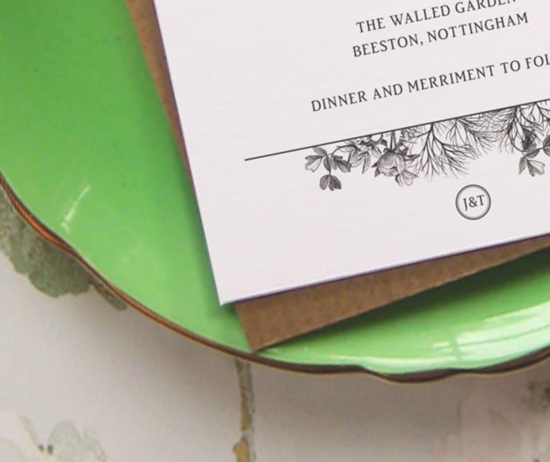 Printable Wedding Invitation  /'Secret Garden/' Invite  Design for Rustic Kraft Card  Digital File Only  Printing Available