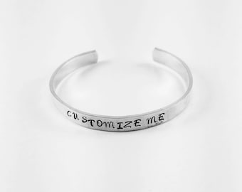 Custom hand stamped cuff bracelet. 7.00 each or get 3/18.00 ~ Great Christmas  gifts, teacher gifts, bridesmaid gifts, birthday gifts