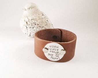 With Brave Wings She Flies Stamped Cuff Bracelet