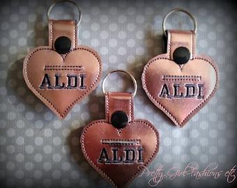Rose gold metallic Aldi heart grocery store quarter keeper holder key fob key chain.