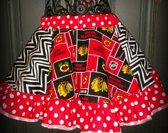Chicago Blackhawks elastic waist circle skirt girls size 2t red black toddler black hawks twirl ruffle