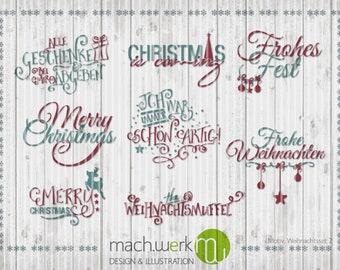 Plotterdatei Weihnachten Christmas Set 2 machwerk cutting file machwerk