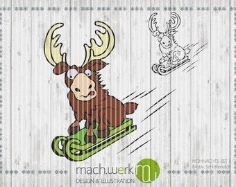 Plotter file Plottervorlage Reindeer sledge-elk Christmas cutting piece