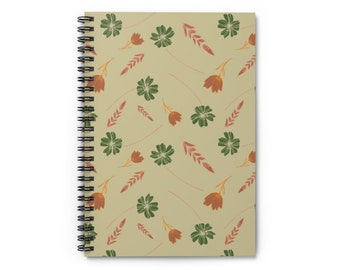 Beige Floral Wheat Notebook - Ruled Line