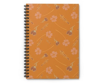 Orange Floral Wheat Notebook - Ruled Line