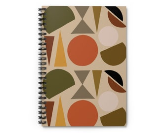 Beige Geo Shapes Notebook - Ruled Line