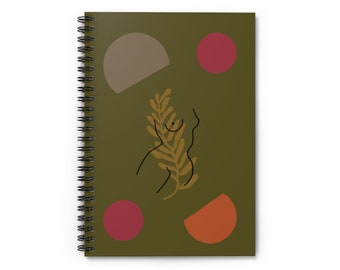 Green Floral Woman Goddess Front Notebook - Ruled Line