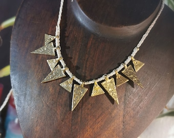 Ancient temple Ethno Brass Necklace Makrame Tribal