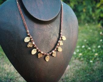 Tribal Brass Pendant Macrame Necklace Brass Tribal Ethno Boho