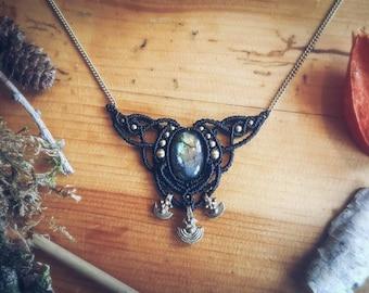 """Colier """"Trinity"""" Macrame Labradorite Bohemian Gypsy Tribal Hippie Jewellery"""