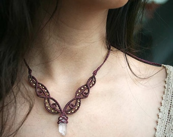 Crystal Point Macrame Necklace Bordeaux Healing Stone Tribal Natural Jewelry