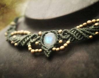 Moonstone Macrame Colier & Tiara Necklace Magic Healing Fairy Fantasy Tribal Dream Jewellery