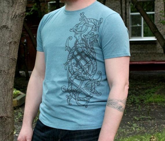 Viking dragon t shirt / viking T shirt cotton dragon Tshirt vikings t-shirt pagan odin thor tshirts WQAJPSOaEE