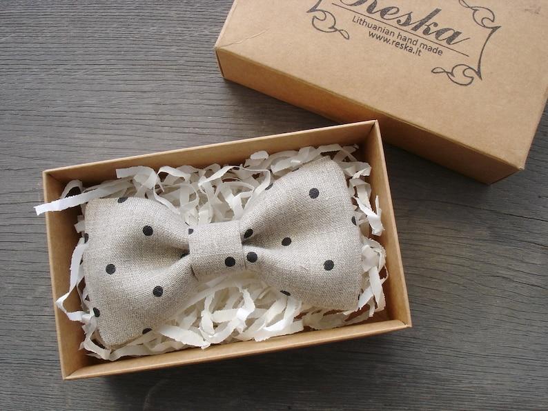 f81751a4b46f Linen bow tie black polka dot linen bow tie mens pre tied | Etsy