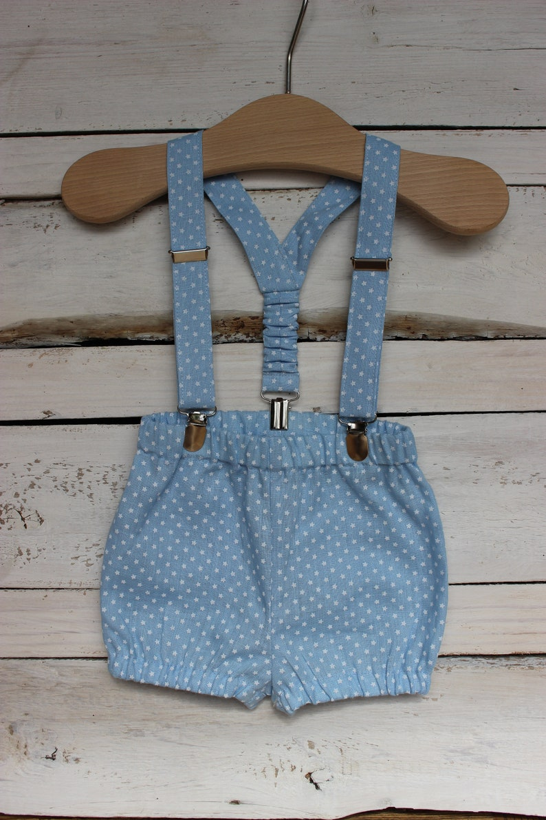 Ring Bearer boy suit Cake Smash Baby Boy Shorts with suspenders blue linen bloomers with braces 1st birthday linen outfit