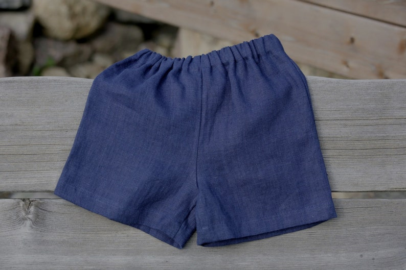 a4026bc34 Navy Blue Boys shorts Baby boy linen pants Stone washed | Etsy