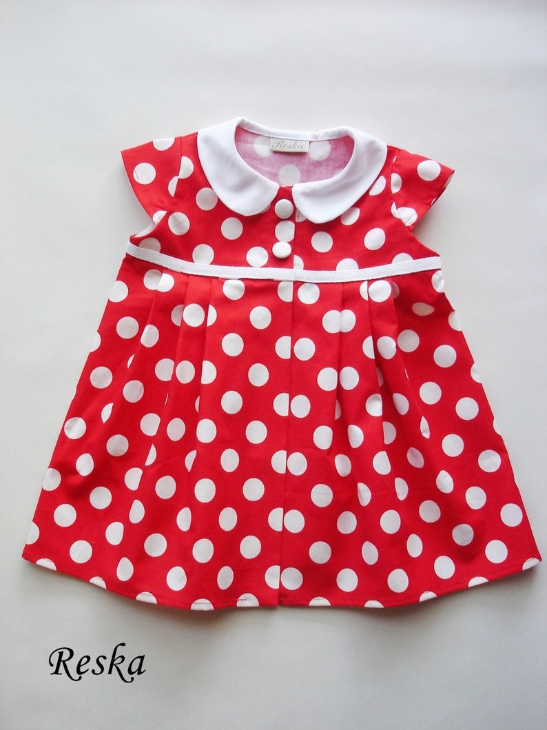 34d935c79015 Baby Minnie Mouse girl dress red polka dots dress navy dot