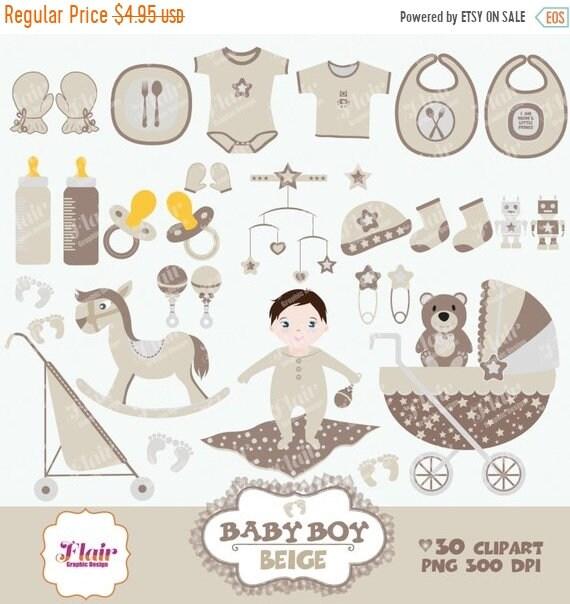 80 Rabatt Baby Boy Digitale Clipart Beige Baby Dusche Etsy
