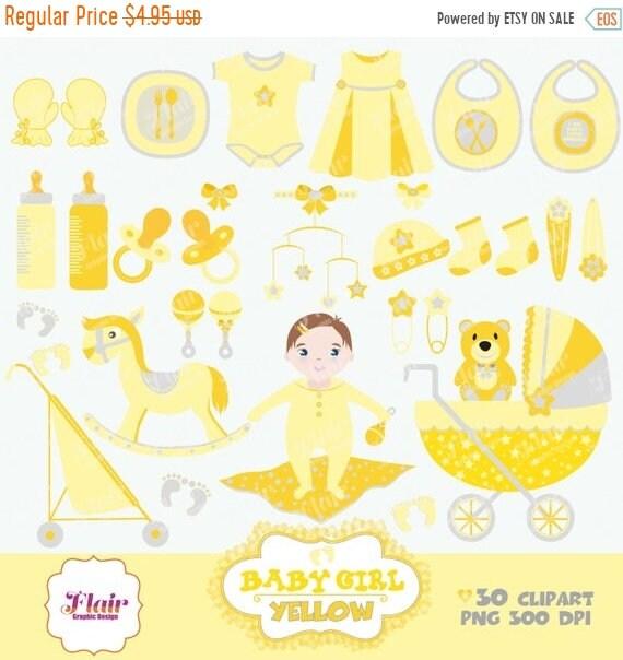 80 Rabatt Baby Mädchen Digitale Clipart Gelb Baby Dusche Etsy