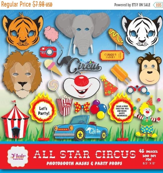 50% OFF CIRCUS ANIMALS Photo booth Masks and Props, Carnival, Animals at  the Fair, Clown, Lion, Tiger, White Tiger, Monkey, Moustache, Diy M