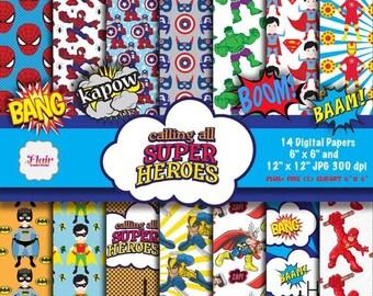 80% OFF SUPERHEROES Digital Papers,Superhero Birthday, Superhero Invitations, Superman, Batman and Robin, Iron Man, Hulk, Marvel Heroes