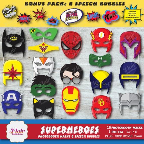 Gvjh Halloween Policy 2020 SUPERHEROES Photobooth Masks and Superhero Speech Bubbles   Etsy