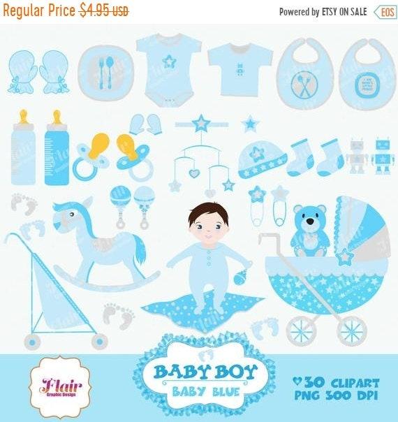 80 Rabatt Baby Boy Digitale Clipart Babyblau Baby Dusche Etsy