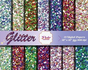 80% OFF MULTICOLOR GLITTER Digital Paper for Scrapbooking, Backgrounds, Craft Supplies, Invitations