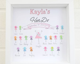 Hen Party, Hen Do Gift Idea Wedding Framed Button Picture Personalised Keepsake For The Bride
