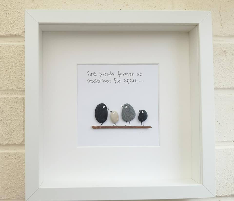 Kiesel Bild Pebble Kunst gerahmt Freunde Geschenk handgemachte   Etsy