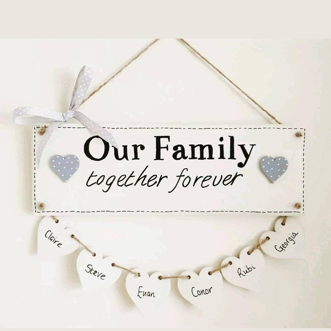 gift Home heart hanging plaque personalised Birthday handmade Family