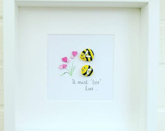 Pebble Picture, Pebble art, bee gift, engagement gift, wedding gift, anniversary gift, framed wall art