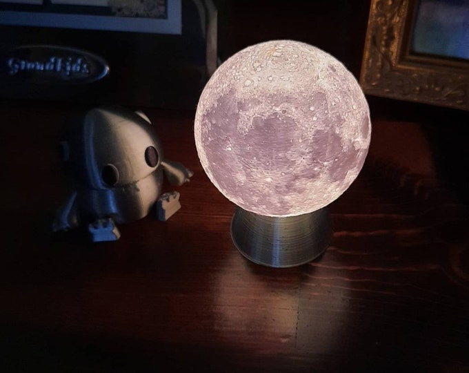 """3D Printed Moon Lamp. Lithophane Nightlight. 3"""" Diameter Moon on Silver Base with replaceable LED light bulb, on-off switch on cord, 120v."""