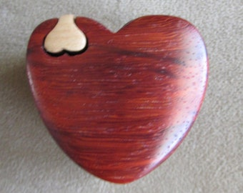 Ring Box, Proposal Ring Box, Puzzle Box, Engagement Ring Box, Heart Shaped Padauk Wood Ring Box