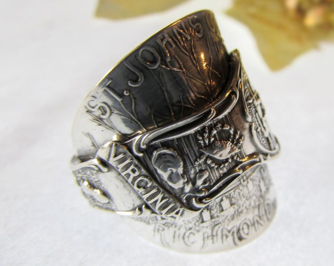 Virginia sterling silver spoon ring. St. John's Church, Blue crab, Oyster, Peanut.