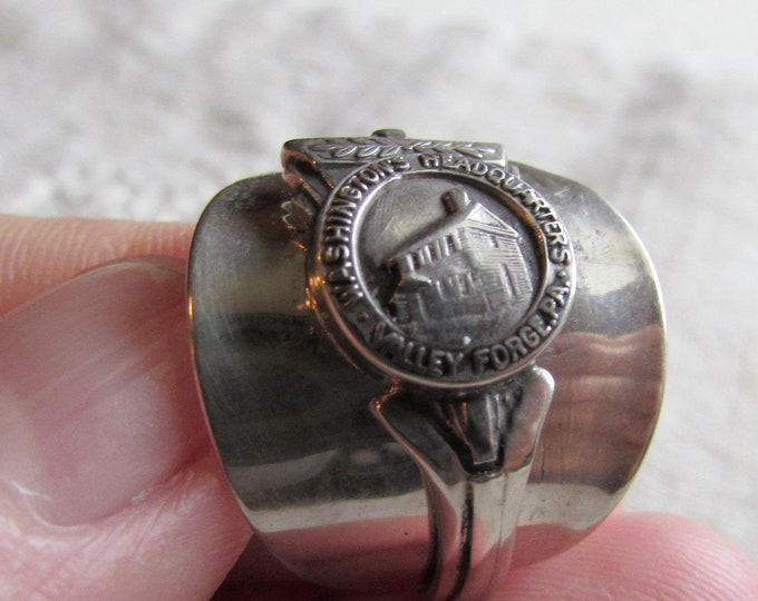 Spoon Ring made from an antique STERLING demitasse spoon. Valley Forge souvenir spoon.