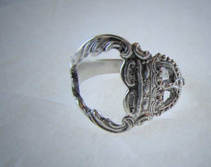 Crown spoon ring. Sterling silver.Made from a sterling spoon. Open design.