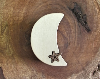 Ring Box, Moon and Star engagement ring puzzle box made from a solid piece of Basswood.