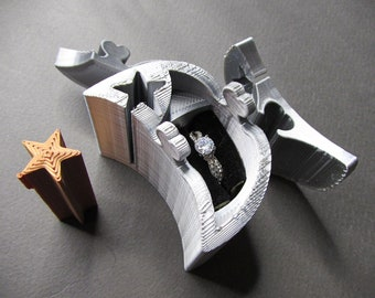 Ring Box, Silver Moon and Stars engagement ring puzzle box. 3D printed puzzle ring box.