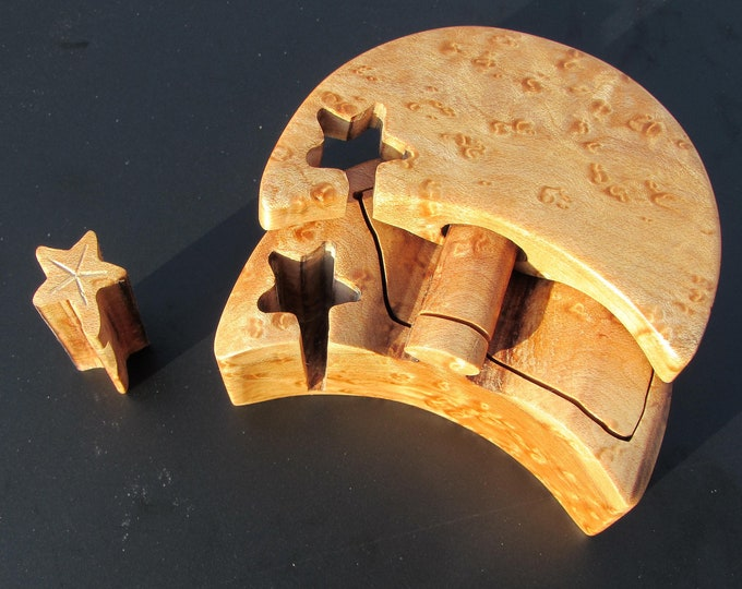 Proposal Ring Box, Moon Ring Puzzle Box, Proposal Ring Box, Moon and Stars box