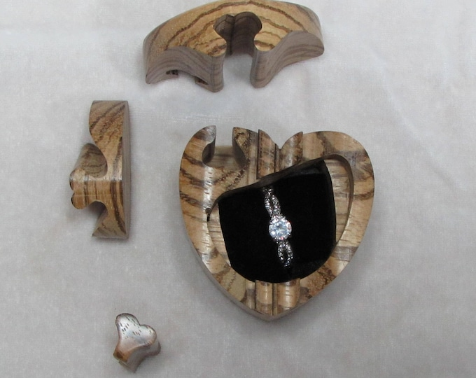 Ring Box, Proposal Ring Box, Puzzle Box, Engagement Ring Box, Zebrawood Heart Shaped Wood Ring Box