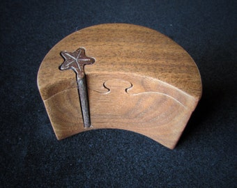 Proposal Ring Box, Moon and Stars style engagement ring puzzle box made from a solid piece of Black Walnut.