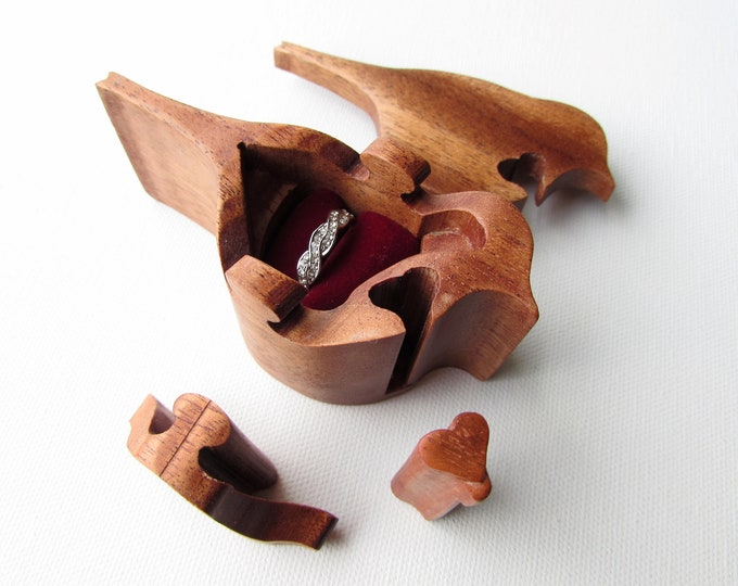 Ring Box, Bird Box, Proposal Ring Puzzle Box made from a solid piece of Ribbon Mahogany