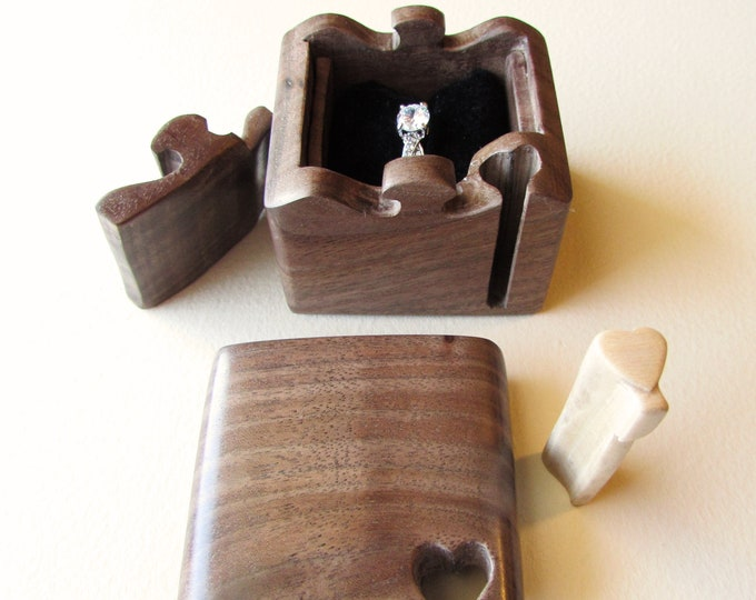 Ring Box, Engagement Ring Puzzle Box made from a solid piece of Walnut.