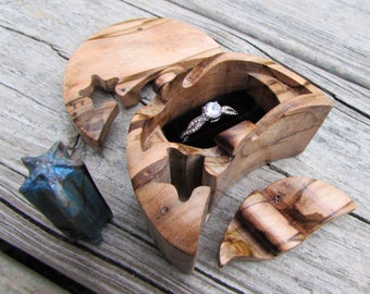 Ring Box, Beach Style Moon and Starfish ring puzzle box made from a solid piece of Ambrosia Maple.